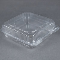 Durable Packaging PXT-900 9 inch x 9 inch x 3 inch Clear Hinged Lid Plastic Container 100 / Pack