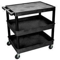 Luxor / H. Wilson TC211-B Black Three Shelf Utility Cart - 2 Tub Shelves, 32 inch x 24 inch x 36 1/2 inch
