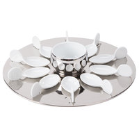 CAC PTP-21-SL Bright White Party Collection Porcelain 10 Spoon Set with 12 1/4 inch Silver Tray and 7 oz. Bowl - 4/Case