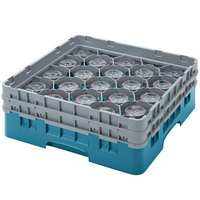 Cambro 20S318414 Camrack 3 5/8 inch High Teal 20 Compartment Glass Rack