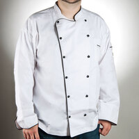 Chef Revival J044-4X Chef-Tex Breeze Size 60 (4X) Customizable Poly-Cotton Brigade Chef Jacket with Black Piping
