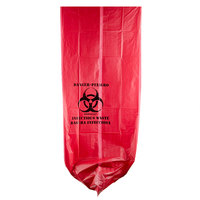 44 Gallon 37 inch X 50 inch Red Infectious Waste High Density Isolation Medical Waste Bag / Biohazard Bag 17 Microns - 200 / Case