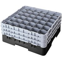 Cambro 36S900110 Black Camrack 36 Compartment 9 3/8 inch Glass Rack