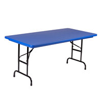 Correll R-Series R2448 24 inch x 48 inch Blue Plastic Folding Table