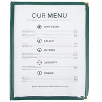 8 1/2 inch x 11 inch Four Pocket Menu Cover - Green