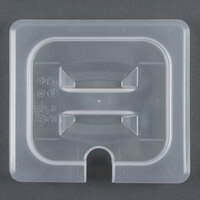 Cambro 60PPCHN 1/6 Size Translucent Polypropylene Handled Lid with Spoon Notch