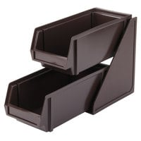Vollrath 4841-01 Traex Brown Self-Serve Condiment Bin Stand Set with 2-Tier Stand and 11 1/4 inch Condiment Bins