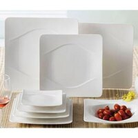 CAC MDN-21 Modern 12 1/2 inch New Bone White Square Porcelain Plate - 12/Case