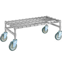 Metro MHP35S 48 inch x 18 inch x 14 inch Heavy Duty Mobile Stainless Steel Dunnage Rack with Wire Mat - 800 lb. Capacity