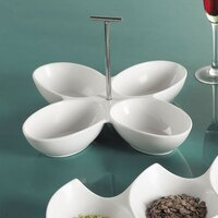 CAC COL-44 White Four Bowl Tasting Dish with Metal Handle 13 1/2 inch - 12/Case