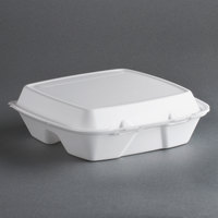 Dart Solo 90HTPF3R 9 inch x 9 inch x 3 inch White Foam Three-Compartment Square Take Out Container with Perforated Hinged Lid - 200 / Case