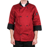 Chef Revival J134TM-2X Cool Crew Fresh Size 52 (2X) Tomato Red Customizable Chef Jacket with 3/4 Sleeves - Poly-Cotton