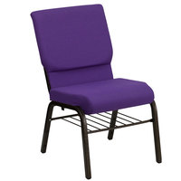 Purple 18 1/2 inch Wide Church Chair with Communion Cup Book Rack - Gold Vein Frame