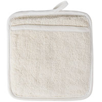 "Choice 8 1/2"" x 9 1/2"" Beige Terry Cloth Pot Holder with Pocket"