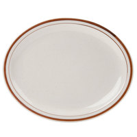 13 1/2 inch x 10 1/8 inch Brown Speckle Narrow Rim Oval China Platter   - 12/Case