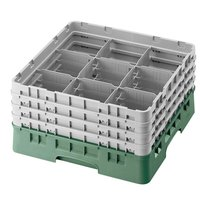Cambro 9S638119 Camrack 9 Compartment 6 7/8 inch Glass Rack - Green