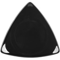 CAC TRG-23BK Festiware Triangle Flat Dinner Plate 12 1/2 inch - Black - 12/Case