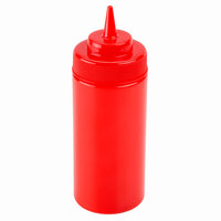 16 oz. Red Wide Mouth Squeeze Bottle -  6 / Pack