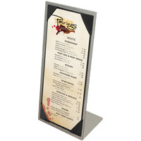 Menu Solutions MTPIX-411 Aluminum Menu Tent with Picture Corners - Brushed Finish - 4 1/4 inch x 11 inch
