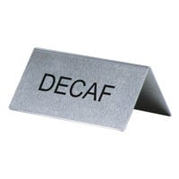 Decaf Table Tent Sign Stainless Steel - 3 inch x 1 1/2 inch