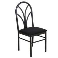 Lancaster Table & Seating Black 4 Spoke Restaurant Dining Room Chair with 1 3/4 inch Padded Seat