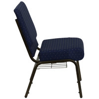 Navy Blue Dot Patterned 21 inch Extra Wide Church Chair with Communion Cup Book Rack - Gold Vein Frame