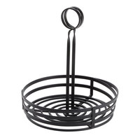 American Metalcraft FWC89 Flat Coil Round Wrought Iron Condiment Basket - 8 inch x 9 1/2 inch