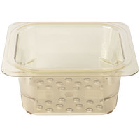 Cambro 63CLRHP150 H-Pan 1/6 Size Amber High Heat Colander Pan - 3 inch Deep
