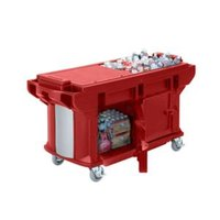 Cambro VBRUTHD6158 Hot Red 6' Versa Ultra Work Table with Storage and Heavy Duty Casters