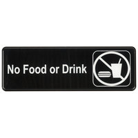 9 inch x 3 inch Black and White No Food Or Drink Sign