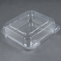 Durable Packaging PXT-880 Duralock 8 inch x 8 inch x 3 inch Clear Hinged Lid Plastic Container - 250 / Case