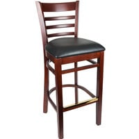 Lancaster Table & Seating Mahogany Ladder Back Bar Height Chair with Black Padded Seat