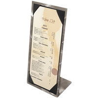 Menu Solutions MTPIX-411 Aluminum Menu Tent with Picture Corners - Swirl Finish 4 1/4 inch x 11 inch