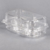 2 Compartment Clear Hinged Cupcake / Muffin Container - 240/Case
