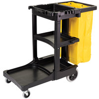 Rubbermaid 6173-88 3 Shelf Janitor Cart with Vinyl Zippered Bag (FG617388BLA)