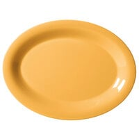 GET OP-120-TY Diamond Mardi Gras 12 inch x 9 inch Tropical Yellow Oval Melamine Platter - 12 / Case