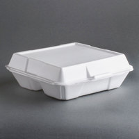 Genpak 23300 9 inch x 9 inch x 3 inch White 3 Compartment Hinged Lid Foam Container 200 / Case