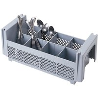 Cambro 8FBNH434151 Soft Gray 8 Compartment Half Size Camrack Flatware Basket