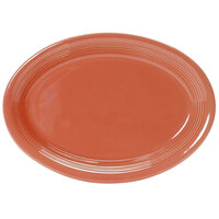 Tuxton Concentrix CNH-1142 Cinnebar 11 1/2 inch x 8 3/4 inch Oval China Platter Coupe 12/Case