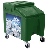 Green Ice Caddy II 140 lb. Mobile Ice Bin / Beverage Merchandiser