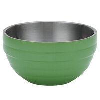 Vollrath 4658735 24 oz. Stainless Steel Double Wall Green Apple Round Beehive Serving Bowl