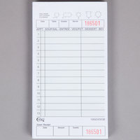 Choice 2 Part Green and White Carbonless Guest Check with Beverage Lines and Bottom Guest Receipt - 40/Case