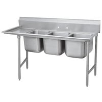 Advance Tabco 9-23-60-18 Super Saver Three Compartment Pot Sink with One Drainboard - 89 inch