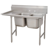 Advance Tabco 9-2-36-36 Super Saver Two Compartment Pot Sink with One Drainboard - 76 inch