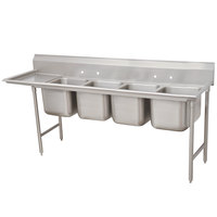 Advance Tabco 93-64-72-24 Regaline Four Compartment Stainless Steel Sink with One Drainboard - 109 inch