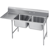 Advance Tabco 9-42-48-36 Super Saver Two Compartment Pot Sink with One Drainboard - 92 inch