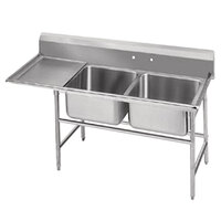 Advance Tabco 94-62-36-36 Spec Line Two Compartment Pot Sink with One Drainboard - 80 inch