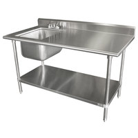 Advance Tabco KMS-11B-305 30 inch x 60 inch 16 Gauge Stainless Steel Work Table with Sink