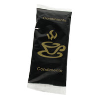 Double Serving Hot Beverage Condiment Kit with Napkin and Black / Gold Packaging - 500 / Case