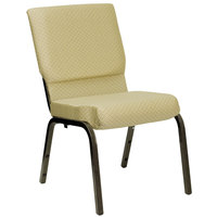 Beige 18 1/2 inch Wide Church Chair with Gold Vein Frame